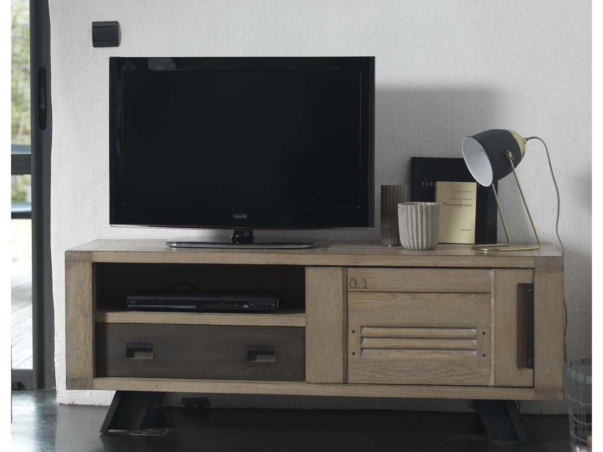 Meuble Tv 1 Porte 1 Tiroir 1 Niche Brou # Meuble Tv Ardoise