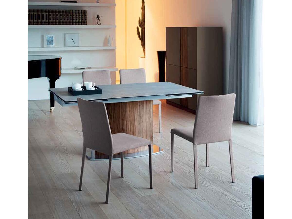 Table extensible c ramique pieds bois m tal brou - Table pied central bois ...